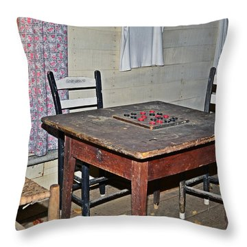 Playing Checkers Throw Pillow by Susan Leggett
