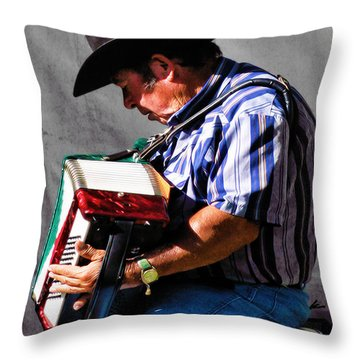 Playing For Taos Throw Pillow by Terry Fiala