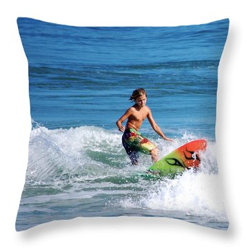 Playing In The Surf Throw Pillow by David Lane