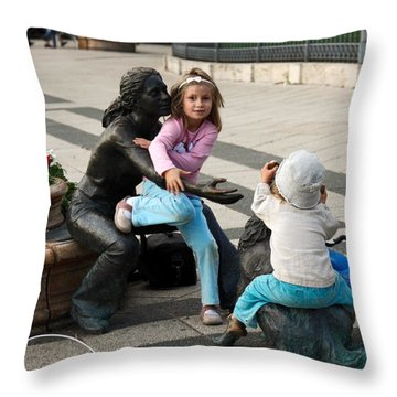 Playing On Sculpture Throw Pillow by Sally Weigand