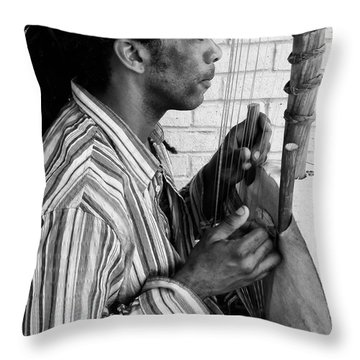 Playing The Koro - Black And White Throw Pillow by Kathleen K Parker