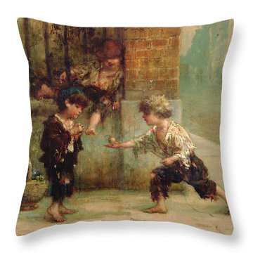 Playing With A Top Throw Pillow by Albert Snr Ludovici