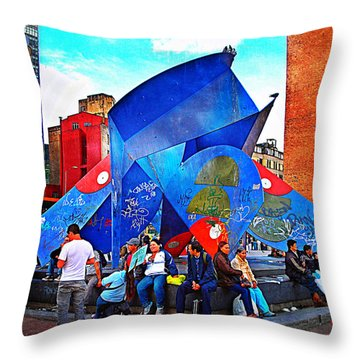 Plaza Throw Pillow by Skip Hunt