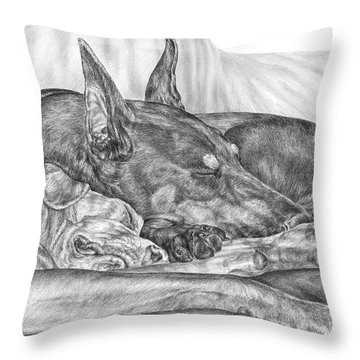 Pleasant Dreams - Doberman Pinscher Dog Art Print Throw Pillow