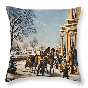 Pleasures Of Winter By Currier And Ives Throw Pillow by Susan Leggett