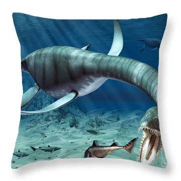 Plesiosaur Attack Throw Pillow by Roger Harris and Photo Researchers