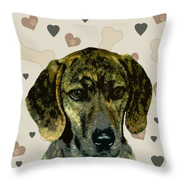 Plott Throw Pillow by One Rude Dawg Orcutt