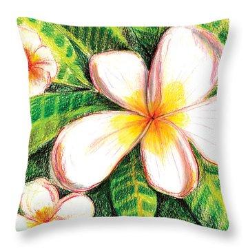Plumeria With Foliage Throw Pillow