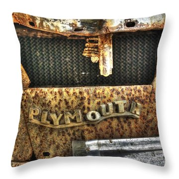 Plymouth Logo Relic Throw Pillow by Dan Stone