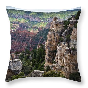 Point Imperial Cliffs Grand Canyon Throw Pillow by Gary Eason