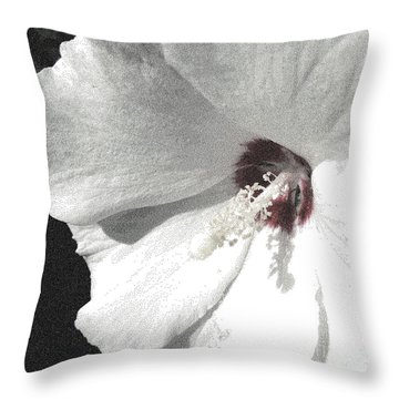 Pointillized Althea Flower Throw Pillow by Renee Trenholm