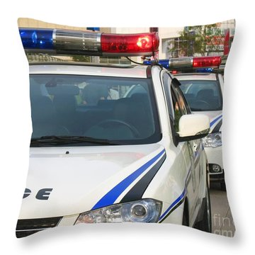 Police Action Throw Pillow by Yali Shi