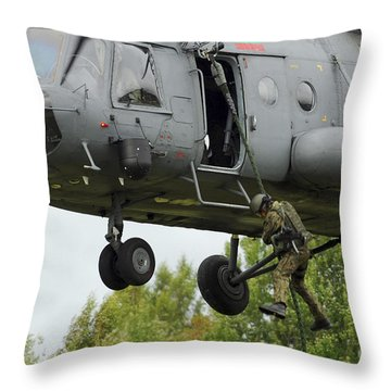 Polish Special Forces Member Fast-ropes Throw Pillow