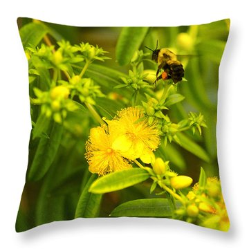 Pollinating The Flower Throw Pillow