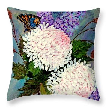 Pom Pom Mums Throw Pillow