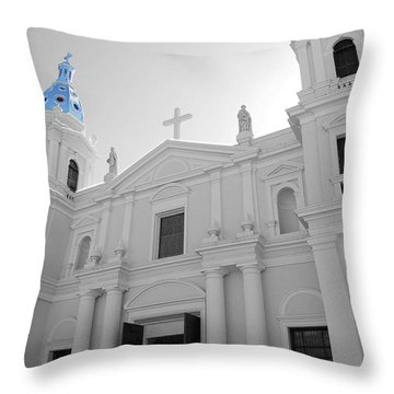 Throw Pillow featuring the photograph Ponce Puerto Rico Cathedral Of Our Lady Of Guadalupe Color Splash Black And White by Shawn O'Brien