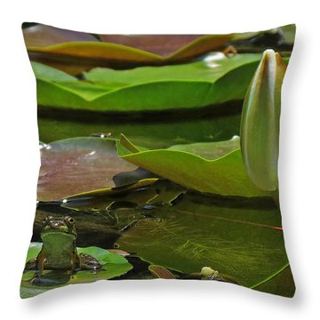 Throw Pillow featuring the photograph Pond Frog Kingdom by Deborah Smith