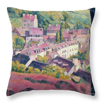 Pont Aven Seen From The Bois D'amour Throw Pillow by Emile Bernard