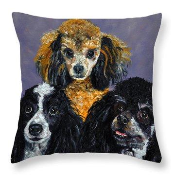 Poodles Throw Pillow by Stan Hamilton