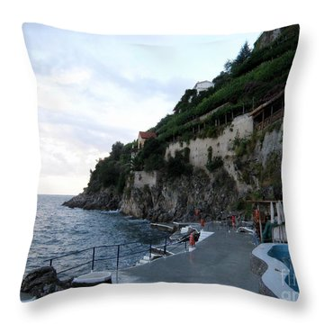 Pool In The Amalfi Santa Caterina Hotel Throw Pillow