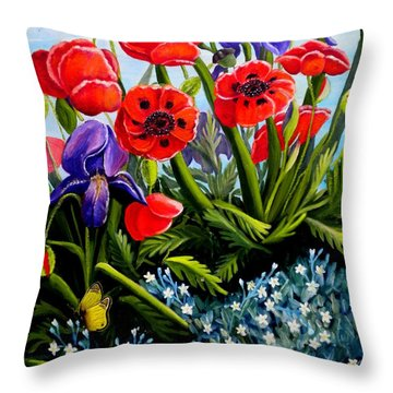 Poppies And Irises Throw Pillow by Renate Nadi Wesley