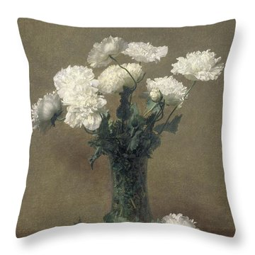 Poppies Throw Pillow by Ignace Henri Jean Fantin-Latour