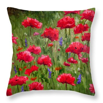 Poppies In A Meadow I Throw Pillow