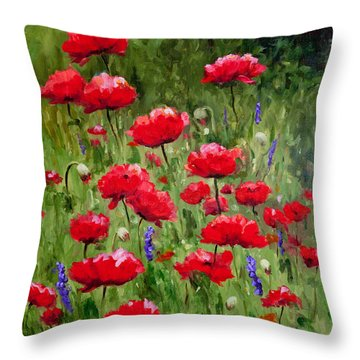 Poppies In A Meadow II Throw Pillow