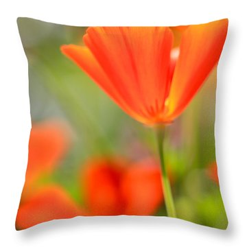 Poppies In The Wind Throw Pillow by Heidi Smith