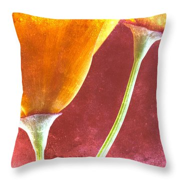 Poppies On Red  Throw Pillow