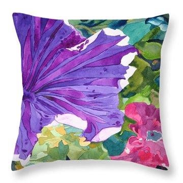 Popping Petunias Throw Pillow by Debi Singer