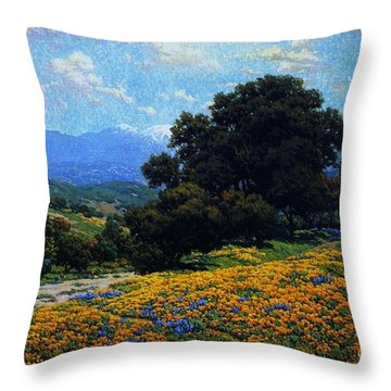 Poppy Field With Oaks And Lupines Throw Pillow