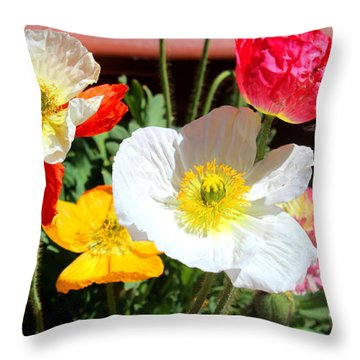 Throw Pillow featuring the photograph Poppy Galore by M Diane Bonaparte