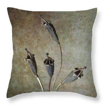 Poppy Seed Cases Throw Pillow by Debra Kelday