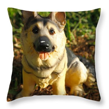 Porcelain German Shepherd Throw Pillow by Gaspar Avila