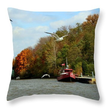 Throw Pillow featuring the photograph Port Dover Harbour by Barbara McMahon