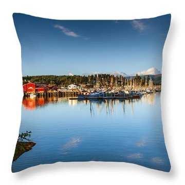 Port Of Ilwaco Throw Pillow by Robert Bales