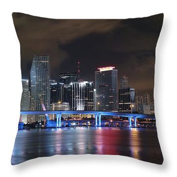 Throw Pillow featuring the photograph Port Of Miami Downtown by Gary Dean Mercer Clark