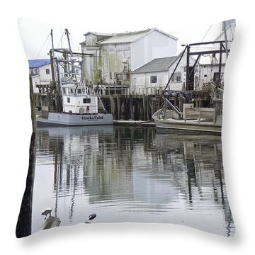 Port Of Nahcotta Throw Pillow by Pamela Patch