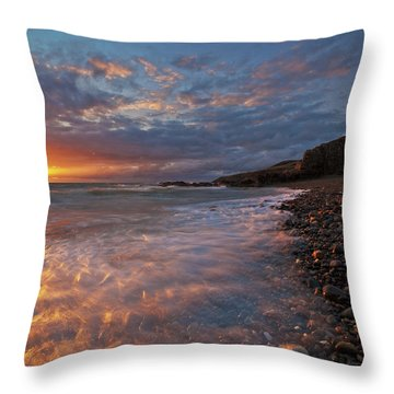 Porth Swtan Cove Throw Pillow