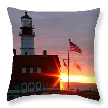 Portland Head Light At Sunrise Throw Pillow by Rick  Blood