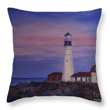 Throw Pillow featuring the painting Portland Head Lighthouse At Dawn by Julie Brugh Riffey