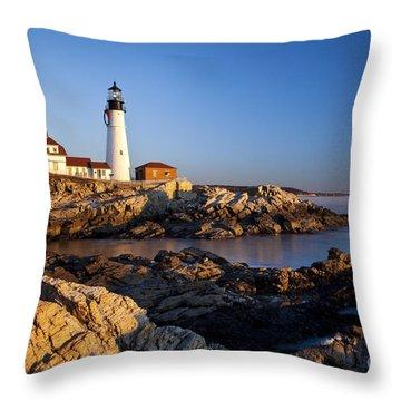Portland Head Lighthouse Throw Pillow by Brian Jannsen