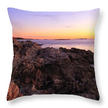 Portland Head Lighthouse Seascape Throw Pillow by Roupen  Baker