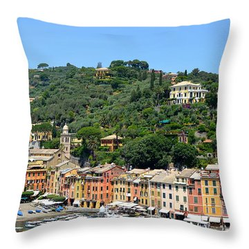 Portofino Hillside Throw Pillow by Corinne Rhode