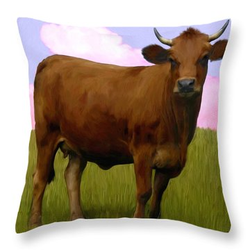 Portrait Of A Cow Throw Pillow by Snake Jagger