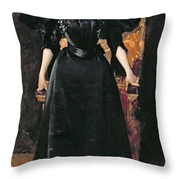 Portrait Of A Lady In Black Throw Pillow by William Merritt Chase