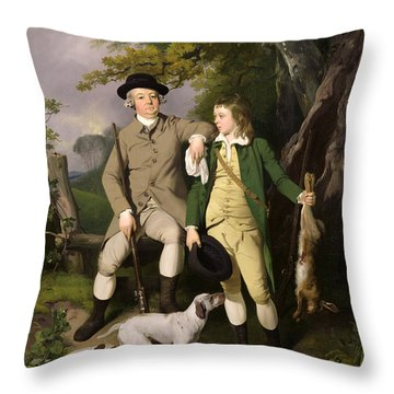 Portrait Of A Sportsman With His Son Throw Pillow by Francis Wheatley