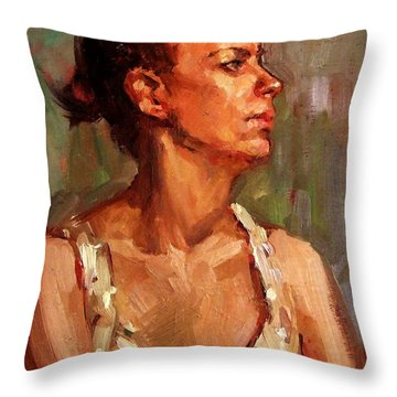 Portrait Of A Stern And Distanced Hardworking Woman In Light Summer Dress With Deep Shadows Dramatic Throw Pillow