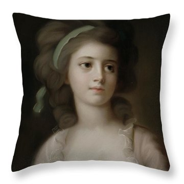 Portrait Of A Young Lady Throw Pillow by French School